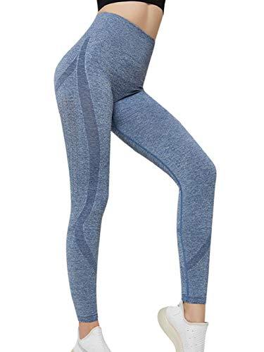 CMTOP Legging Sport Femme Pantalon sans Couture Push Up de Compression Elastique Legging de Compression Confortable(Bleu Clair, S)