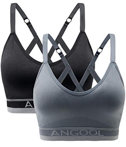 ANGOOL Soutien Gorge sans Armature Push Up Elastique Fitness Amovibles Coussinets Brassiere Sport Femme, Noir+Gris, L