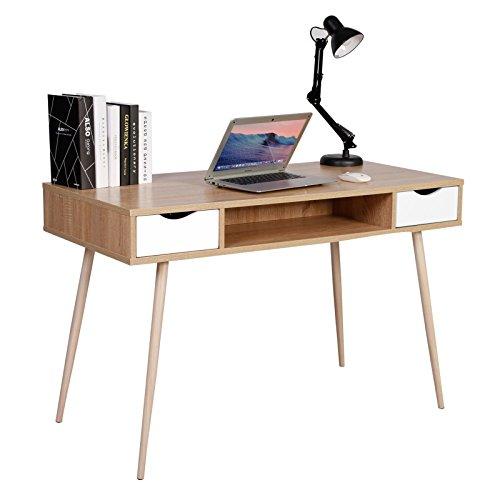 WOLTU TSG19hei Bureau d'ordinateur Table de Bureau en métal et Bois,Table de Travail PC Table avec 2 tiroirs et 1 Compartiment Ouvert 120x58x77cm (LxPxH),Chêne