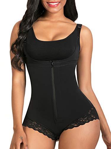 SHAPERX Femme Body Fajas Buste Ouvert Bodysuit Contrôle Abdominale Dentelle Fermeture éclair Shapewear, UK-DT7200-Black-M