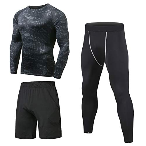 Niksa Ensemble Compression Homme Tenue Sport Fitness Vêtement Running Tee Shirt Compression...