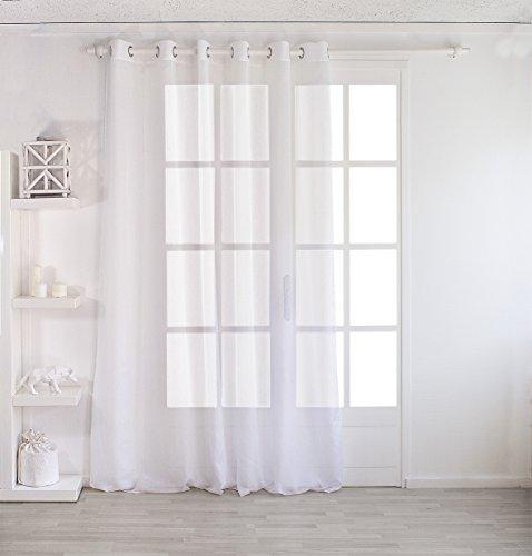 Enjoy Home 2001BC240240 Voilage Sablé Grande Largeur 240x240cm avec 8 Œillets Blanc, Polyester, 240x240 cm