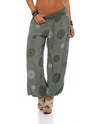 Pantalon ZARMEXX pour femme - Sarouel - Pantalon d'été - Décontracté - Taille unique - Vert - 38/44 FR prix et achat