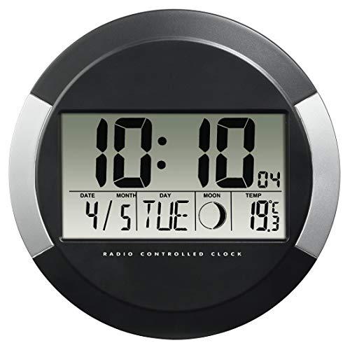 Hama Horloge murale 'PP-245' (radio-pilotée DCF, pendule sans tic tac, numérique, à led, sans fil, avec des piles, format 24h, calendrier, jour, thermomètre 0°C à -50°C, pause murale ou bureau) Noir
