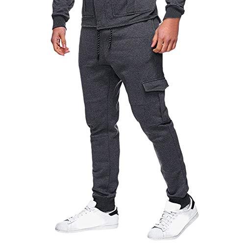 Kobay Hommes Les Pantalons De SurvêTement Pantalon DéContracté Sport éLastique à Poches Bouffantes(X-Large,Gris foncé)