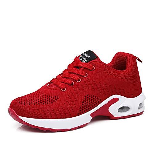 Basket Sneakers Femme pour Running Chaussures de Course Lacets Air Coussin 4cm Rouge-1 39