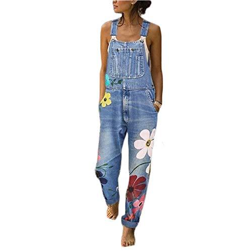 ORANDESIGNE Combinaison Femme Femme Salopette en Jeans Slim Jumpsuit Pantalon Floral Casual...