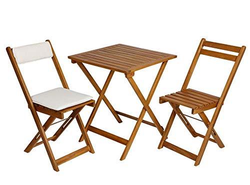 Spetebo Ensemble de meubles bistrot en bois d'acacia avec coussins de chaise, 2 chaises pliantes + table pliante