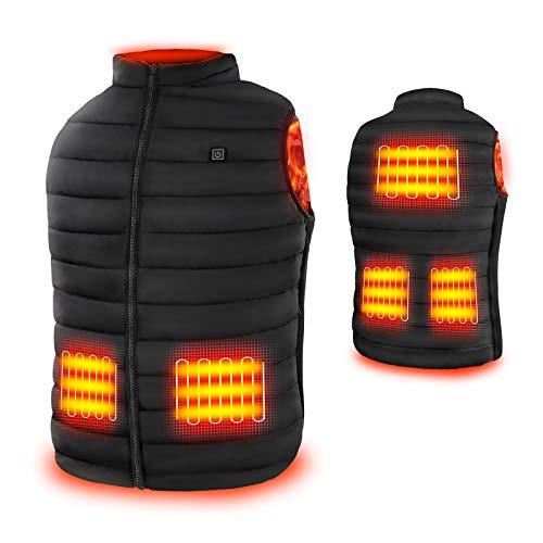 Rrtizan Gilet chauffant électrique USB, 3 niveaux de température, taille réglable pour hommes et femmes, lavable, pour l'hiver, la chasse, l'extérieur, le camping, Noir , XL-Weight 74-84KG prix et achat