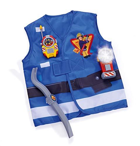 Simba - Ensemble de Sauvetage du Pompier Sam - Gilet de Lutte Contre l'incendie avec Pied de biche, Lampe de Poche et WalkieTalkie - Bleu - pour Enfants à partir de 3 Ans