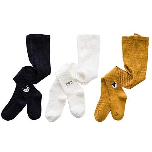 Dsaren Collant Enfant Fille Hiver Collants Bébé en Cotton pour Nouveau-né 3 Paquet (M (3-5 ans))