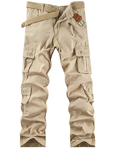 Pantalon Cargo Homme Pantalon de Travail Randonnée Sport Pantalon Militaire Kaki FR 38