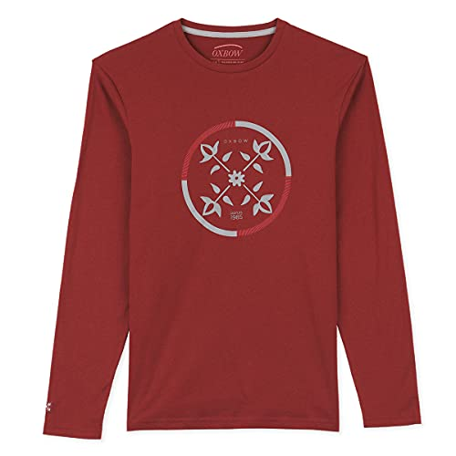 Oxbow N2TCHISTO Tee Shirt Manches Longues Graphique Homme Grenat