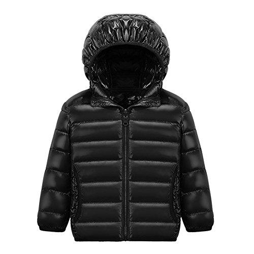 Chic-Chic Blouson Manteau Léger Enfant Garçon Fille Doudoune à Capuche - Veste à Manches Longues Sport bébé Ski Vêtement 13-14ans Noir