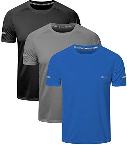 HUAKANG 3 Pack T-Shirts à Manches Courtes Homme, Baselayer T-Shirt de Sport Homme Running Tee...