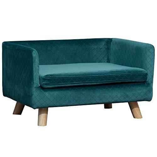 Pawhut Canapé Chien lit pour Chien Design scandinave Coussin Moelleux Pieds Bois Massif dim. 64 x 45 x 36 cm Velours Bleu Canard