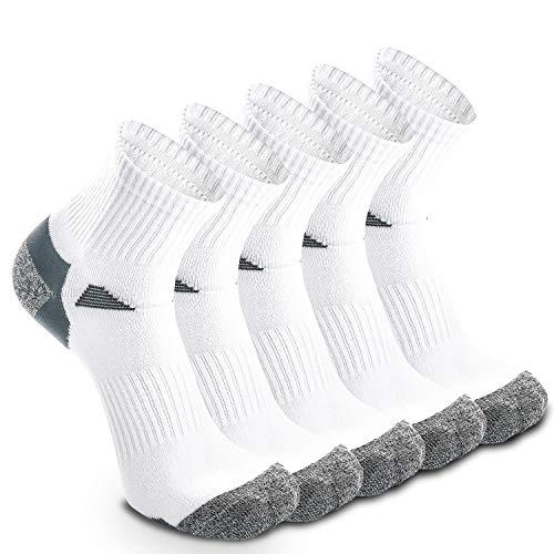 Lot de 5 paires de chaussettes de course pour homme et femme, Blanc – 5 paires., UK 9-11 //...