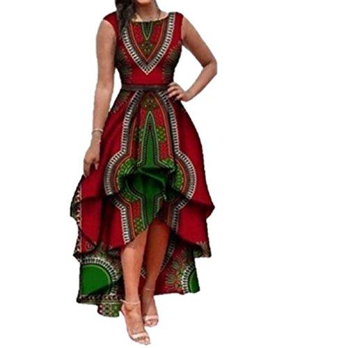 Honghu Femmes Africaine Robe Irrégulière Boho Robe sans Manches Longue Maxi Robes Partie Robe...