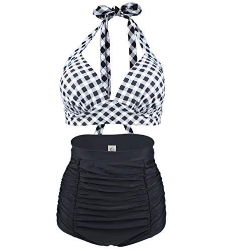 Viloree Femme Retro Taille Haute Bikini Maillot de Bain Deux Pièces Motifs Carreaux Noir &...