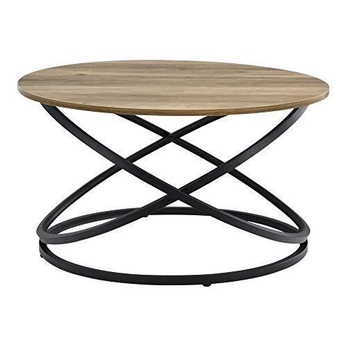 [en.casa] Table Basse Ronde Table de Salon Design Intemporel Panneaux de Particules Métal Couleur Bois et Noir 46 x 79 cm