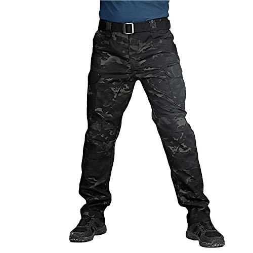 ORANDESIGNE Pantalon Tactique pour Hommes Etanche Cargo Pantalon élasticité Poche Multiple pour Le Militaire, Camping en Randonnée Pédestre,Pantalons Homme Randonnée Noir Camouflage L