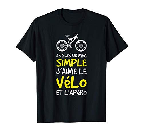 Homme Te Shirt Homme Cyclisme Humour Cadeau Cycliste Vélo Et Apéro T-Shirt