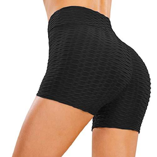heekpek Femmes Shorts Sport Yoga Butt Lift Legging Court Pantalon de Yoga Taille Haute Short de Sport Sexy Été Legging Short Anti Cellulite, Noir, Taille M