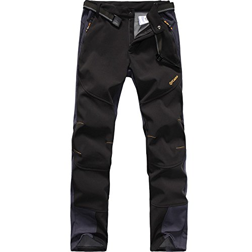 FLYGAGA Homme Pantalon Softshell Doublé Polaire Coupe-Vent Imperméable Outdoor Sport Camping...