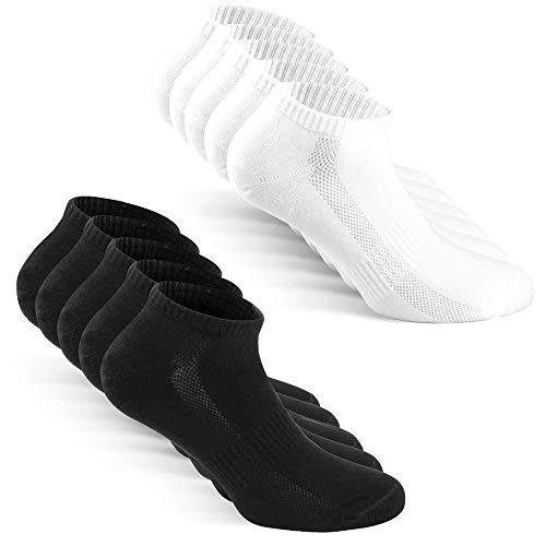 TUUHAW Chaussettes Homme Femme de 10 Paires Sport Coton Socquettes Respirant Courtes Chaussettes Noir Blanc 39-42