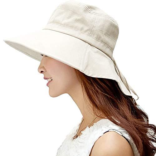 Comhats Chapeau de soleil, pliable UPF50 large Brim avec protection du cou pour Femmes Petit Beige