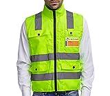 Gilet de sécurité XXL jaune haute visibilité professionnel infroissable avec bandes réfléchissantes, fermeture éclair & quatre grandes poches Prowiste