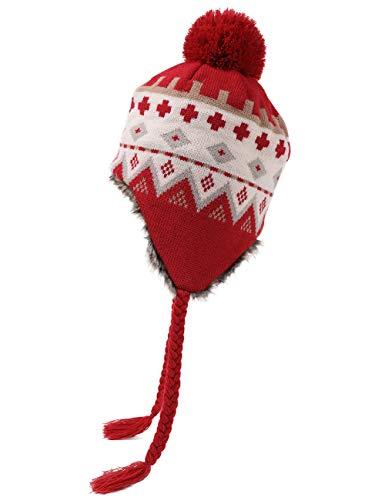 Fancet Bonnet péruvien en tricot pour femme avec visière à rabat pour les oreilles et le ski...