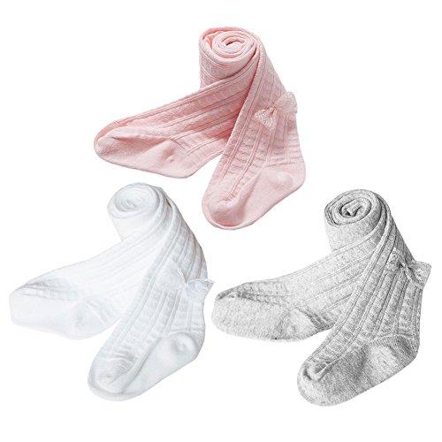 XPX Garment Lot de 3 Coton Enfants Collants Bébé Fille Chaussettes Bébé Nouveau-né 0-5 ans