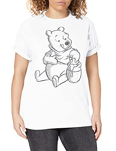 Disney Winnie The Pooh-Sketch T-Shirt, Blanc (White White), 42 (Taille Fabricant: Large) Femme