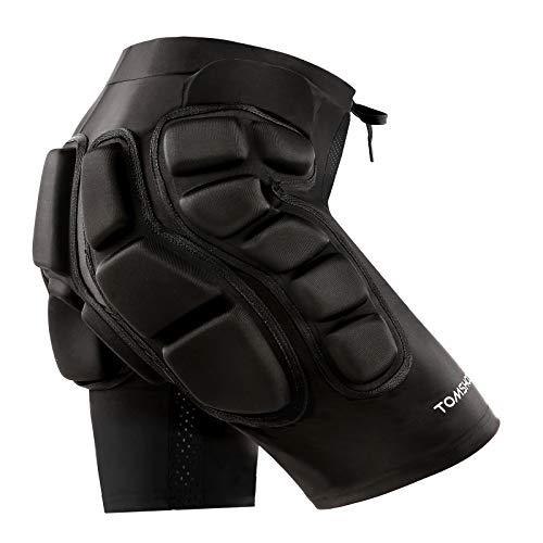 TOMSHOO Protection Hip 3D 2CM Rembourré Shorts Léger Respirant pour Ski Skate Snowboard Volleyball Patinage Vélo VTT (XXL)