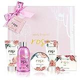 Coffret de Bain & Douche pour Femme, Body&Earth 6 Pièces Coffret Cadeau au Parfum de Rose, Parfait Cadeau pour l'Anniversaire et le Noël