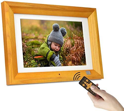 KODAK Cadres Photo Numériques 10 Pouces, Télécommande, Affichage Photo/Musique/Vidéo, Calendrier du Lecteur, Alarme, Support USB et Carte SD, Bois