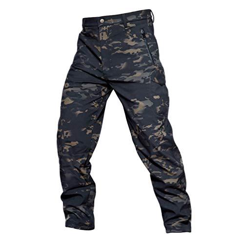 YuanDiann Homme Tactique Camouflage Softshell Pantalon Doublé Polaire Militaire Multipoches...