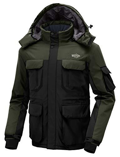 Wantdo Homme Veste de Ski Imperméable Manteau Hiver Chaud Veste Isolée Coupe-Vent Veste de Snowboard Neige avec Capuche Anorak Outdoor Noir+Vert S