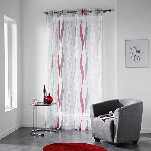 douceur d'intérieur 1624733 ONDULYS Panneau à œillets Polyester Rouge 140 x 240 cm
