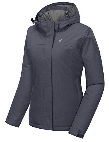 Little Donkey Andy - Veste de ski et de snowboard imperméable pour femme avec capuche amovible, Femme, noir chiné, X-Small