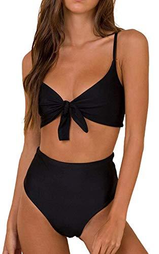 JFAN Femmes Taille Haute Bikinis Ensemble Push Up Rembourré Cravate Nouer Maillot de Bain Bikini Vintage,Noir-L prix et achat