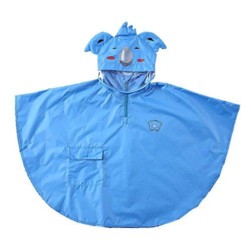 Gagacity Unisex Enfant de Bébé Manteau Imperméable Léger Chauves Souris Cape/Poncho de Pluie avec Capuche Bleu Koala/M