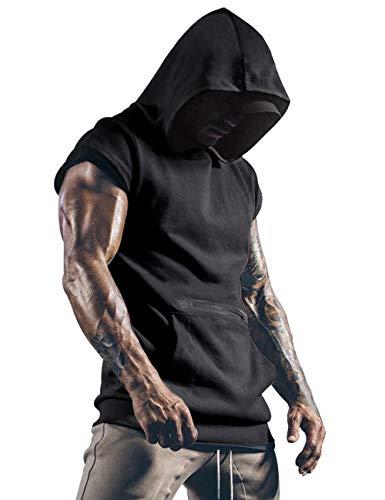 T-shirt à capuche sans manches pour homme avec poches, parfait pour le sport, fitness - Noir - Medium prix et achat