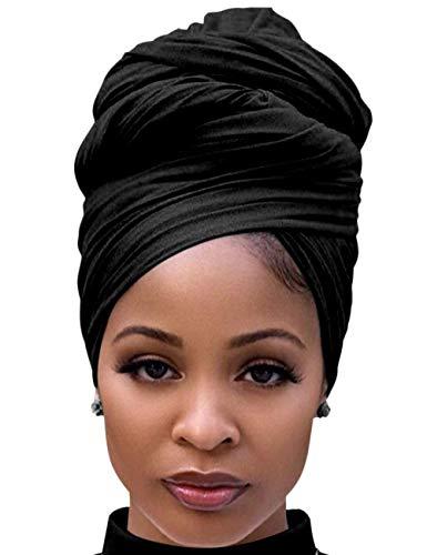 DRESHOW Enveloppement de Cheveux pour Noir Femmes Écharpe Extensible Turban Élastique Écharpe Wrap de Cheveux Longs Turban Doux de Couleur prix et achat