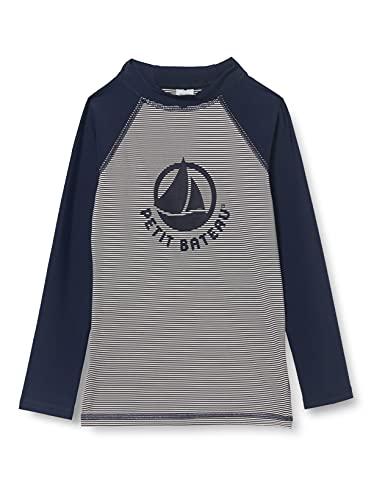 Petit Bateau 5913002 One Piece Swimsuit, Smoking/Marshmallow, 6 Ans Boys