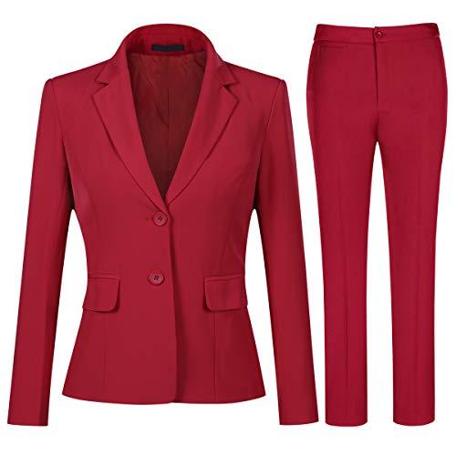 YYNUDA Tailleur 2 pièces Femme Travail Décontracté Bureau Blazer Pantalon Deux Boutons...