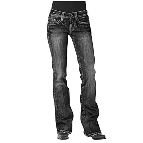 Pantalon Femme Jean Taille Haute Chic, YUYOUG Femmes Jeans Taille Moyenne Denim Jeans Broderie Stretch Button Pantalon Droit Jeans prix et achat
