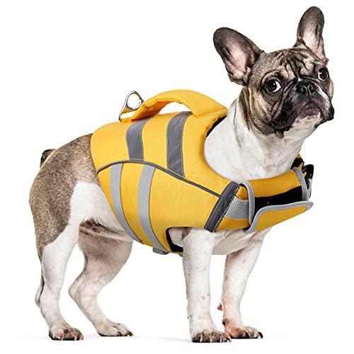 Gilet de sauvetage pour chien - Réglable - Avec poignée - Pour la natation, le surf, le bateau