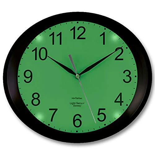 FISHTEC Horloge Murale Ovale Luminescente avec Rétroéclairage 4 LED Vertes - Détecteur d'obscurité - Silencieuse sans Tic Tac - 3 Modes d'Eclairage : Permanent/Désactivé ou Auto - 30 CM - Noir